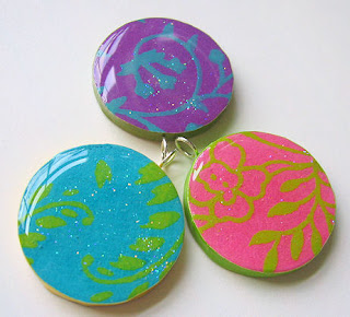 Migoto chou new glazed paper pendants glittered pendants were made using the same process i just decorated them in a different way the three on the bottom were made with handmade papers aloadofball Gallery