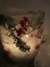 Lyslykt med rognebær og einer..
