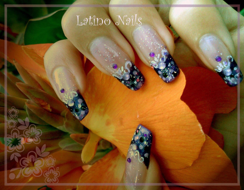Latino Nails: Purple french - just like fake nails :)