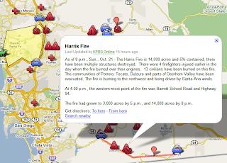 Google Lat Long San Diego Fire Map