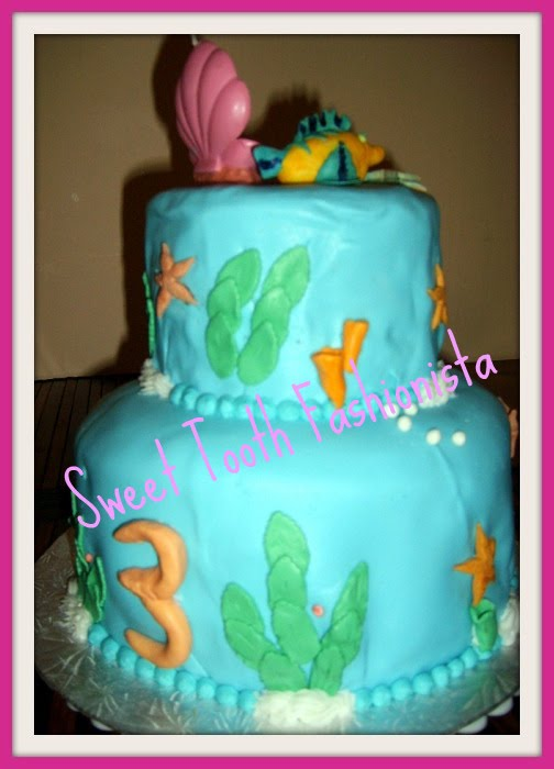 The Little Mermaid Birthday Cake Fondant. Little Mermaid For a Three