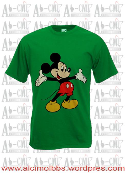 Kaos Ala Cimol, warna dasar Hijau dan gambar logo kartun mikimos...