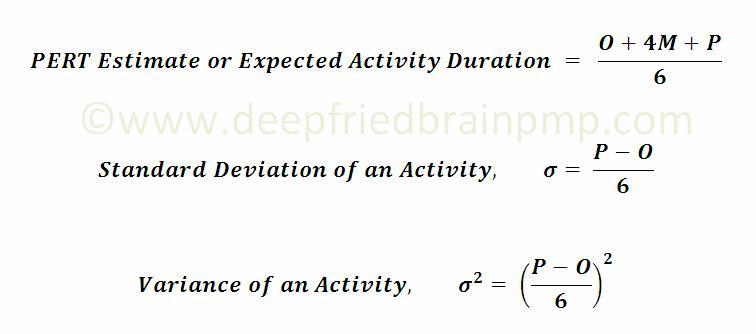 Formula for PERT, Standard Deviation and Variance for Duration Estimate