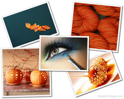 Fall Leaves Orange Yarn from Smatterings Blog Smokey Blue Eyeshadow from