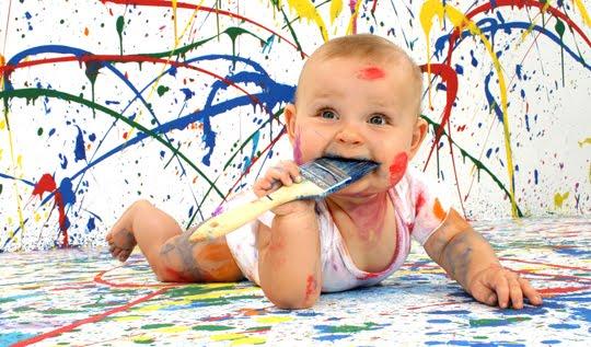 Fazer tinta caseira para a criança pintar  Atelier+pintura+para+beb%C3%A9s+com+tintas+de+legumes