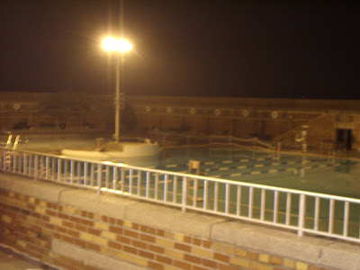 The swimming pool behind the Ice Cream Parlor / Food Court.