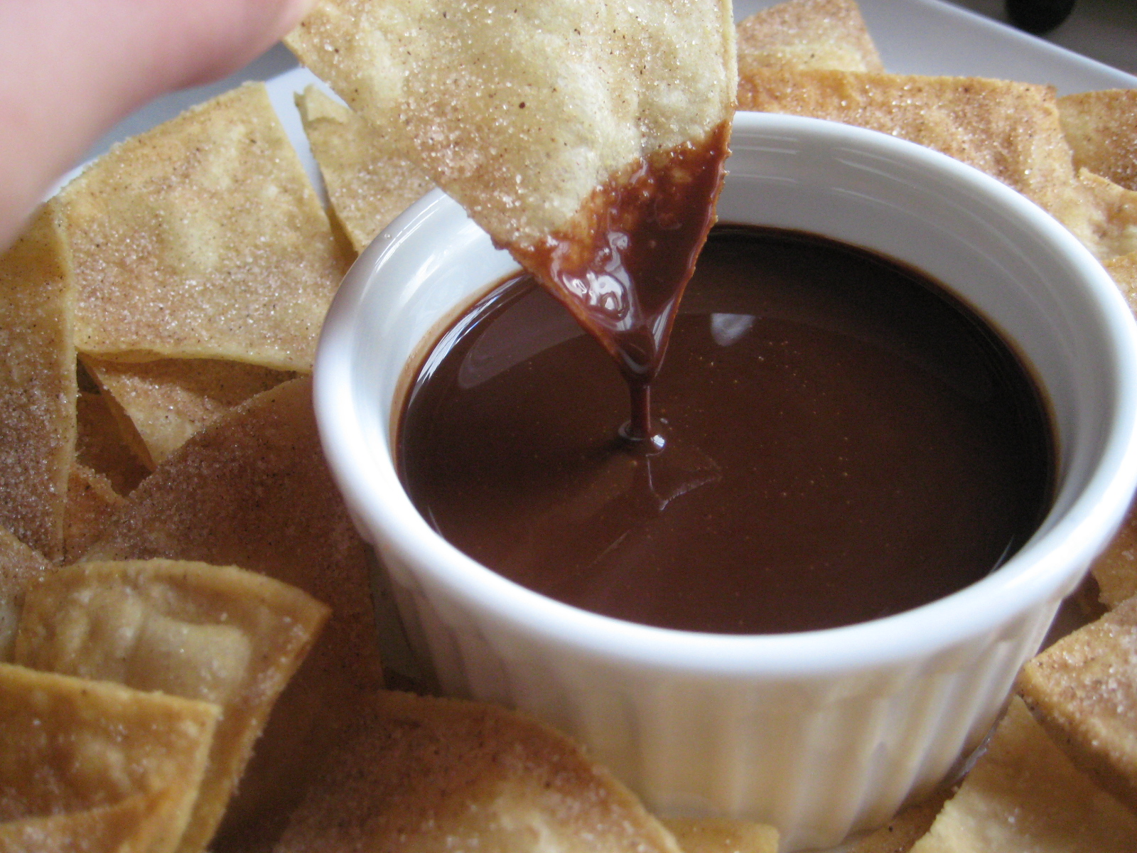 Cinnamon Sugar Tortilla Chips & Chocolate Sauce - Crazy for Crust