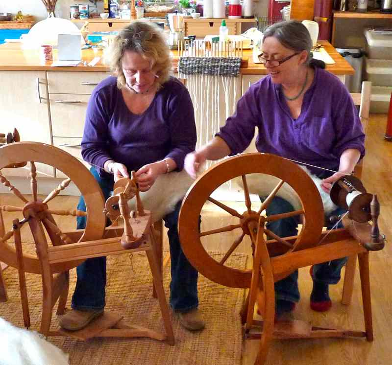 permaculture in brittany: Learning to spin wool