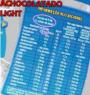 tabela nutricional de Nescau Light