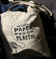 Canvas bag, 'Neither paper nor plastic'