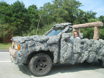 Faux-stone pickup truck on the LIE