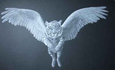 winged white tiger in white charcoal on black paper