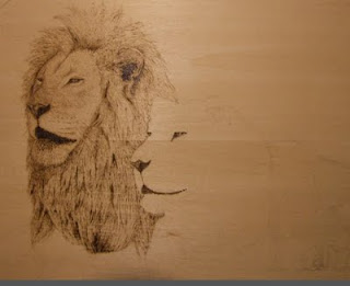 lion drawing pyrography in progress
