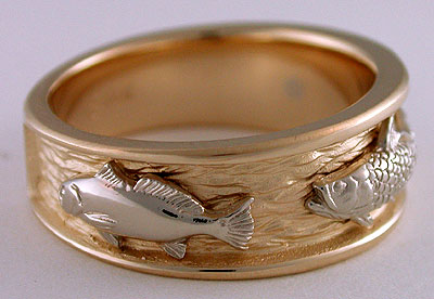 Your wedding support get the look fish themed wedding for Mens fishing wedding bands