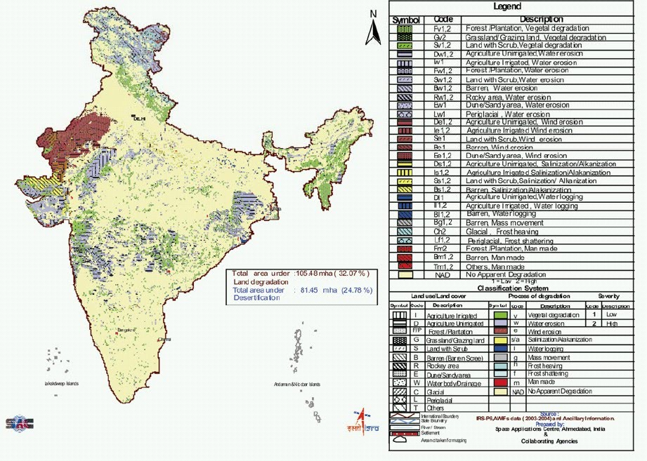 Rapid uplift mapping india land degradation and for Soil in india