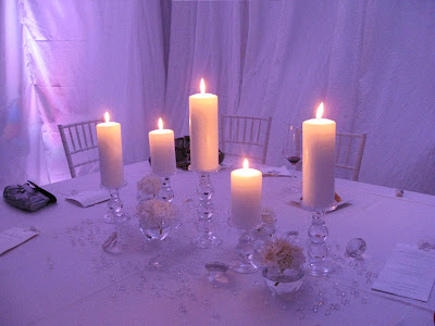 The tent was completely draped in gorgeous white fabric and then she used