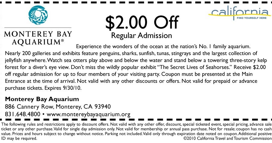 picture regarding Monterey Bay Aquarium Printable Coupon identified as Check with a Website traffic Advisor: California push coupon: Monterey