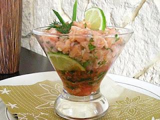 Tartare de saumon en verrines