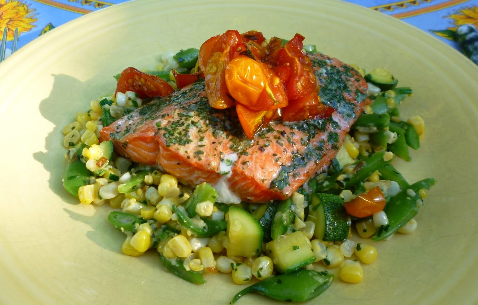 ... with Corn on the Cob, Sockeye Salmon and a Quick Vegetable Sauté