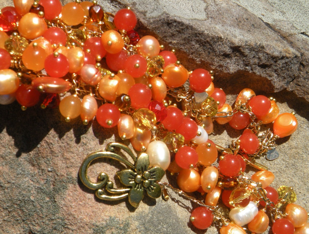 Sunset Gemstone Power Statement Cluster Necklace (c)