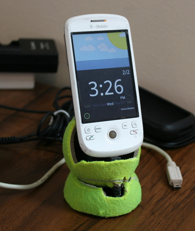 How to make a DIY Phone Charger Stand using Tennis Balls ...