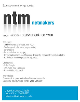 Netmakers abre vaga de Designer / Web. Blog Publiloucos.