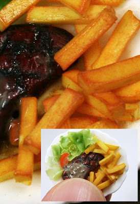 Miniature Food - French Fries and Grilled Steak in 12th Scale