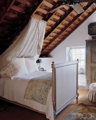 Another sloped roof. I love the contrast of the unfinished ceiling and the white lace. Reminds me of a room Jane Austen would write about. & interior design musings: Design Series Tuesday - Canopy Beds part 4