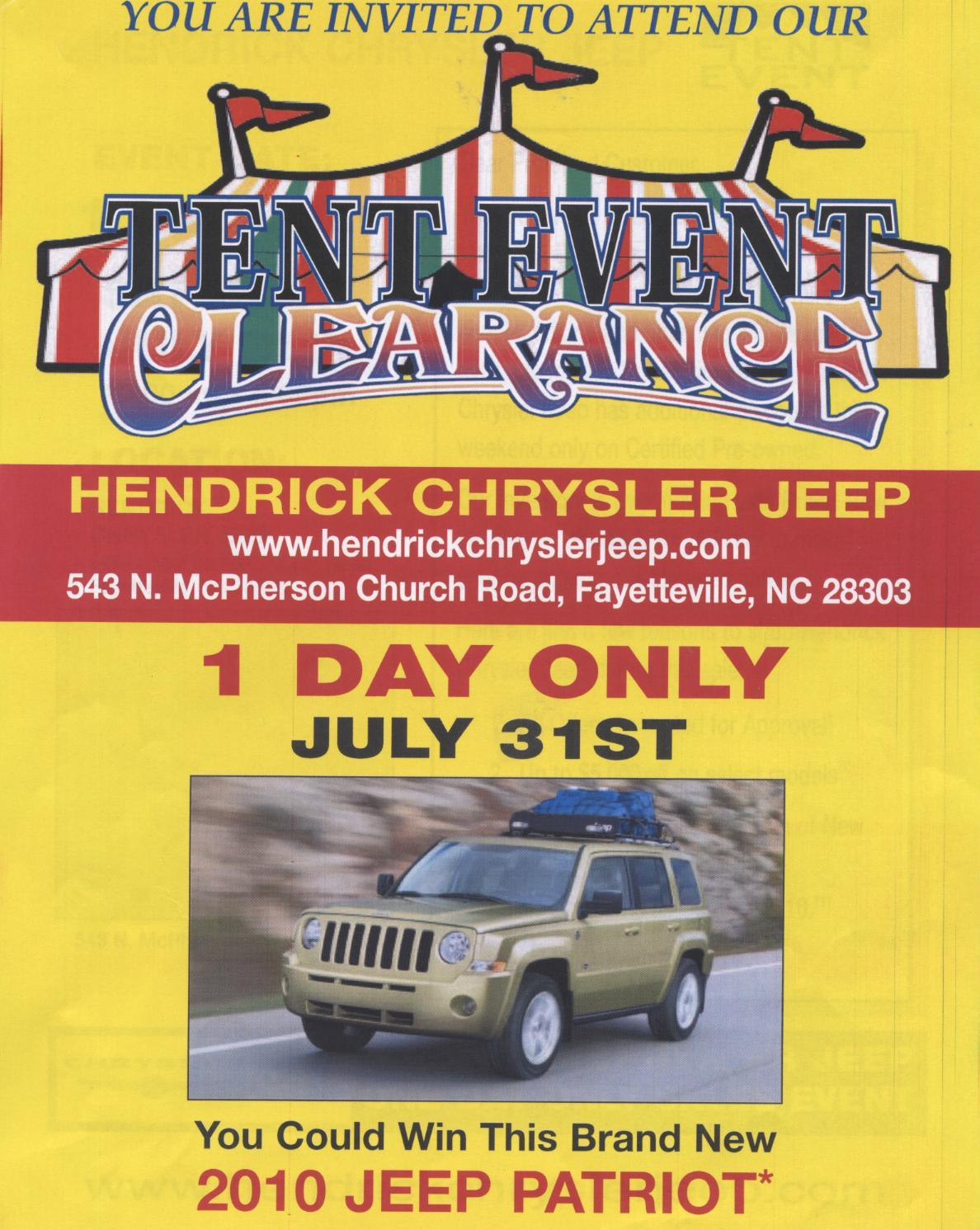 hendrick chrysler jeep tent event clearance. Cars Review. Best American Auto & Cars Review