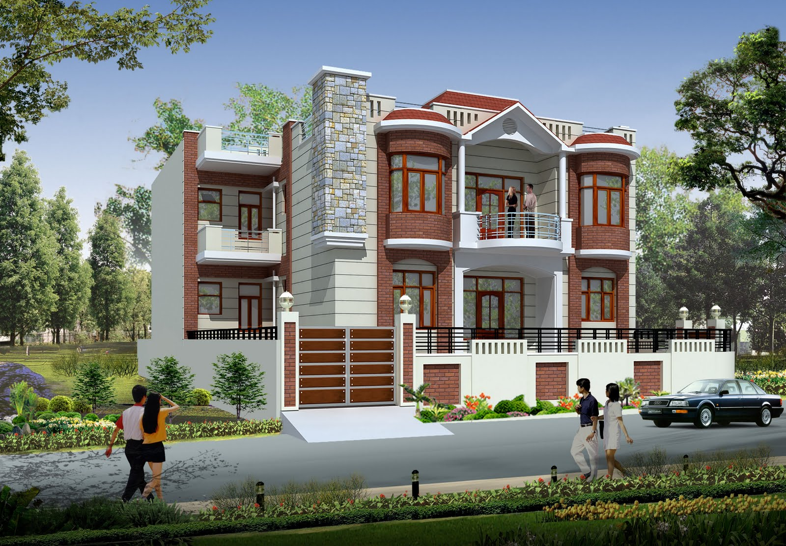 House design solution ideas 3d front elevation of house in for House building front design