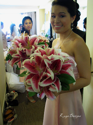 lilies wedding bouquet. hair White Wedding Bouquet 1