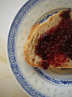Homemade raspberry jam on Treestone Bakery bread