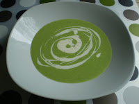 Cream of asparagus soup with creme fraiche.  The asparagus is from Edgar Farms of Innisfail, Alberta.