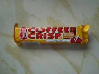 A Coffee Crisp wrapper with conspicuous white check-mark