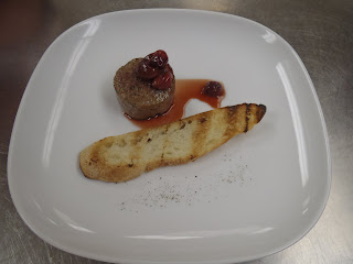 The finished pâté, served with toast and sour cherry sauce
