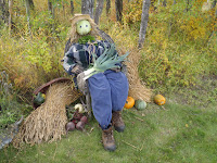 A cabbage-headed scarecrow at Tipi Creek Farm