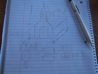 Gingerbread church blueprints