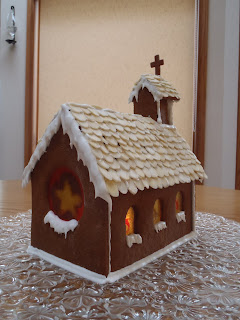 A rear-view of the finished gingerbread church