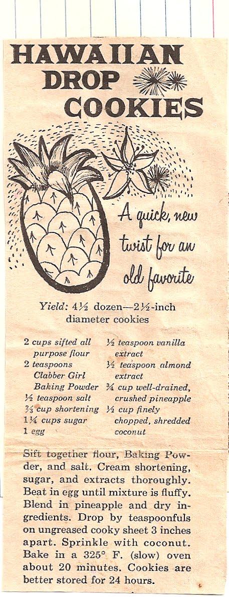 hawaiian drop cookies