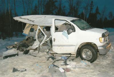 Photo of Bathurst High School Phantoms 15 Passenger Ford Econoline Van on the morning of the tragedy, January 12, 2008