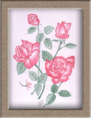 Color Pencil Drawing Bunch Of Roses