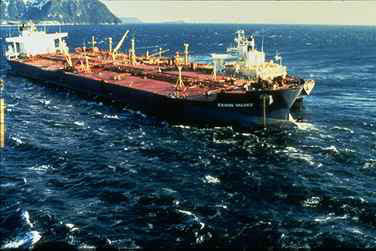 Exxon Valdez, an Oil tanker owned by the former Exxon Shipping Company, a division of the former Exxon Corporation.