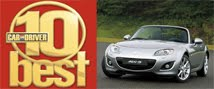 Car & Driver magazine picks the MX-5 as one of the 10 Best Cars for 2011
