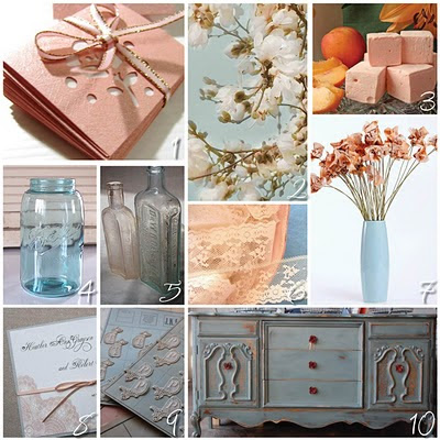 Etsy Wedding Peach Antique Ice Blue and Dark Teal