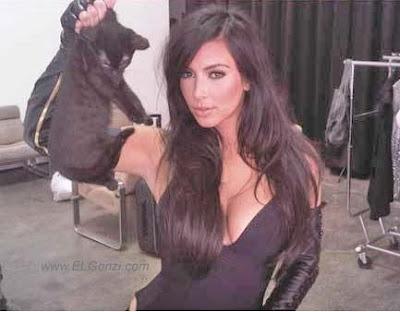 sexy kim kardashian and the black cat