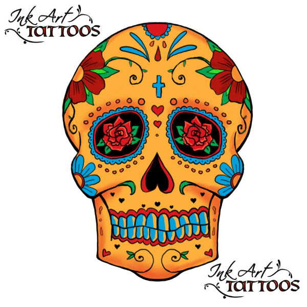 traditional tattoo flash. sugar skull tattoo ideas
