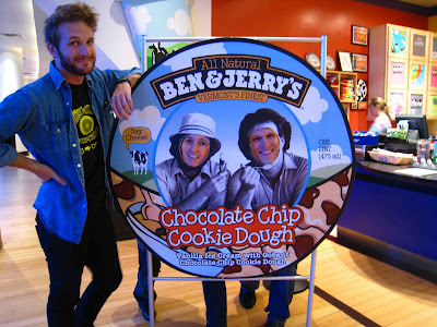 Ben and Jerry's face in hole
