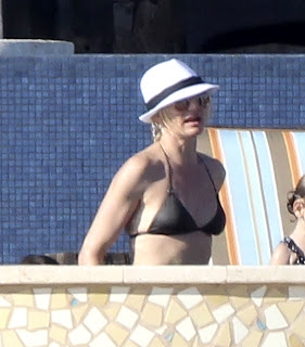 Cameron Diaz picture pic photo image gallery in a skimpy black bikini and white straw hat