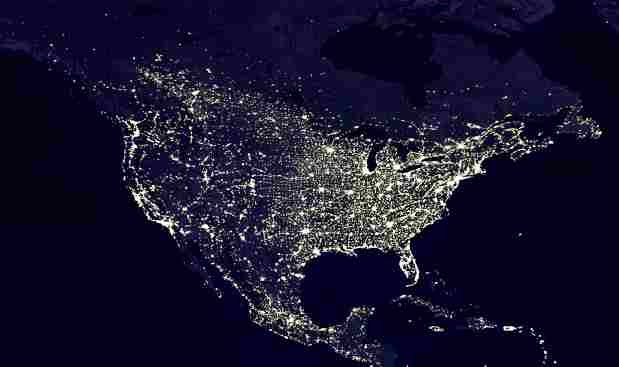 Visual Astronomy Find A Dark Sky Site Near You - Us light map