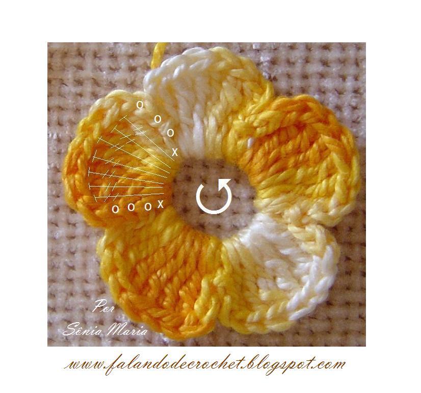passo a passo de como tecer essa flor de croche